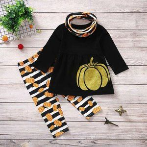Gold Pumpkin Black Tunic Scarf Girls Outfit
